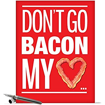 J9870 Jumbo Funny Valentine's Day Card: Bacon My Heart With Envelope (Extra Large Version: 8.5'' x 11'')