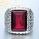 Sumanee 925 Silver Princess Cut Ruby Ring Women Jewelry Wedding Engagement Party (9)
