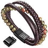 murtoo Leather Bracelet Magnetic-Clasp Cowhide Braided Multi-Layer Wrap Mens Bracelet, 7.5''-8.7'' (Green Bead)