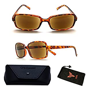 (#3SPSR Tort) Fashion Designer Women Squared Rectangular Shape SUN-READER Glasses - All In One Reading Glasses & Sunglasses (Strength : +2.75)