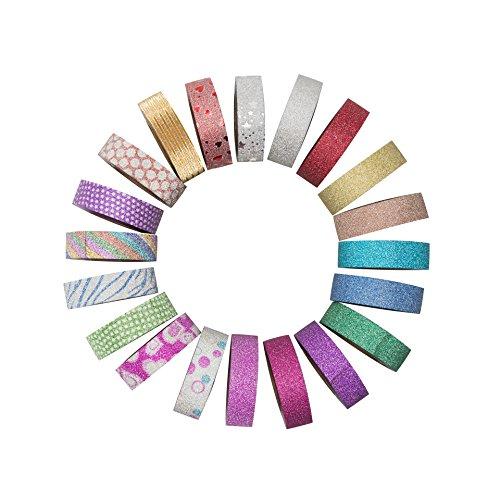 Washi Tape Set 20 Rolls | Colorful, Bright, Glitter Decorative Tape | More Tape per roll (33 ft ea)!!