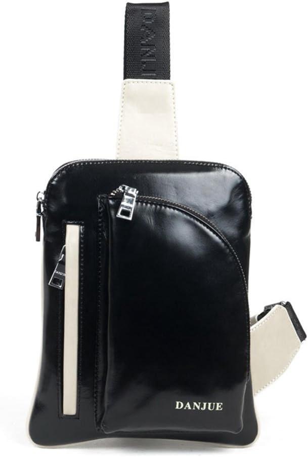 DANJUE mens chest top layer leather casual Korean version of the shoulder bag shoulder bag mens sports bag fashion small fresh D90067-1A blue