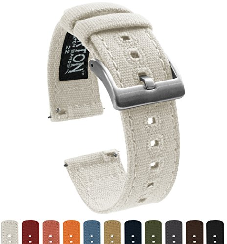 BARTON Canvas Quick Release Watch Band Straps - Choose Color & Width - 18mm, 20mm, 22mm - White 18mm