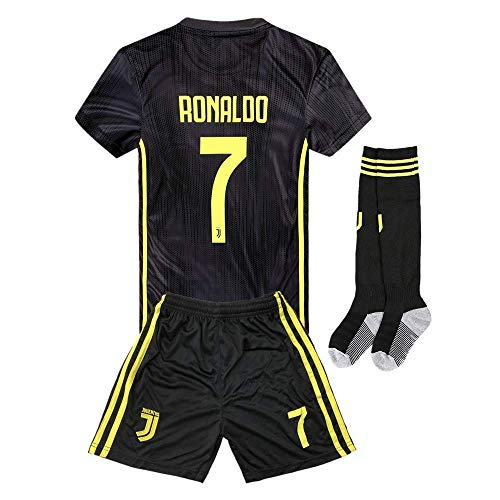 (2018-2019 Away C Ronaldo #7 Juventus Kids Or Youth Soccer Jersey & Shorts & Socks Black 7-8Years/Size)