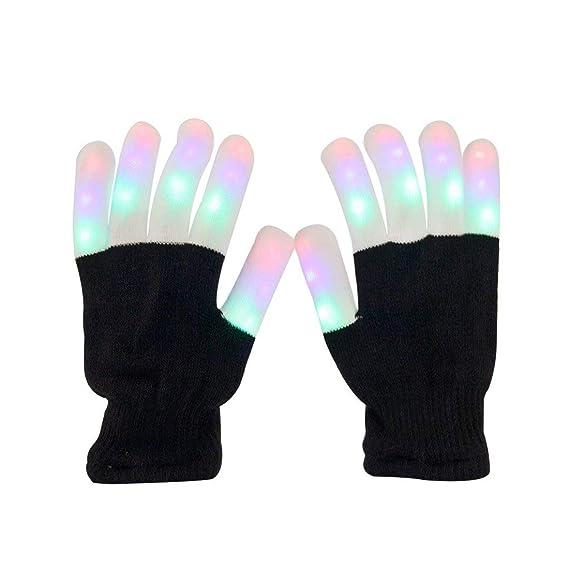 Aomeiqi leuchtende Handschuhe, LED blinkende bunte Finger Gloves Coole Spielzeuge Handschuhe mit LED, lustige Handschuhe als