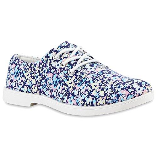 Stiefelparadies Modische Damen Halbschuhe Klassische Schnürer Stoff Schuhe Flandell Blau