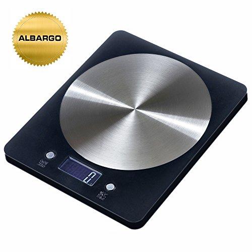 ALBARGO - Haushaltsgeräte, Multifunktionelle professionelle digitale Küchenwaage, Haushaltswaage mit flachem edlen Design und großem beleuchteten LCD-Display- bis zu 5 kg