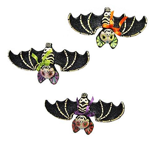Halloween Sparkle - Halloween Sparkle Glittery Black Bat Ornaments Set of 3 Katherines Collection