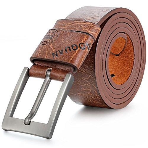 JewelryWe Vintage Herren Gürtel Ledergürtel Belt Gurt Jeansgürtel Anzuggürtel Hosengürtel Gürtelschnalle Geschenk Braun