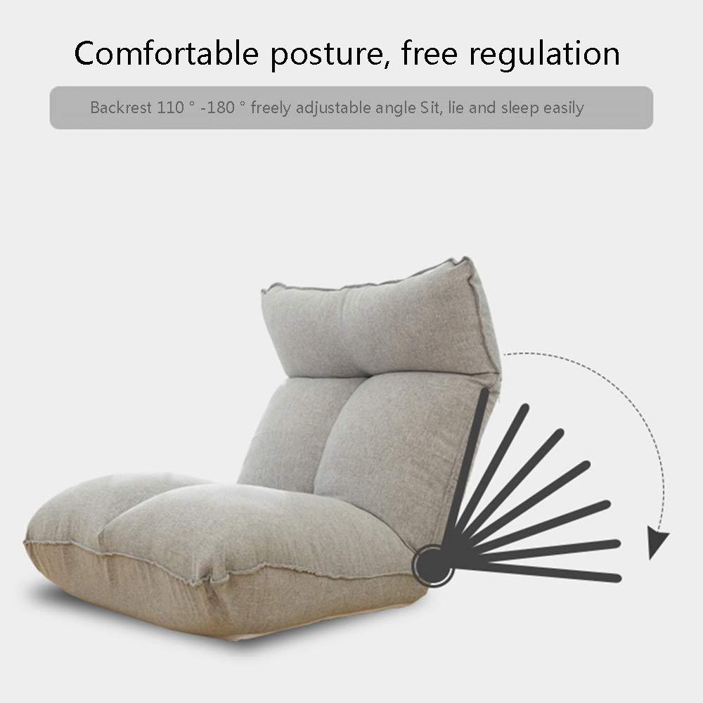 JIEER-C stol golvstol hopfällbar enkelgolvstol med manuell justering spak lat lounge soffa avtagbar och tvättbar 14 kugghjul justerbar meditationsstol med ryggstöd, svart BLÅ