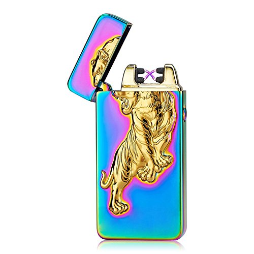 Padgene Electronic Pulse Double Arc Cigarette Lighter, Tiger Flameless USB Rechargeable Arc Lighter, Mix Color