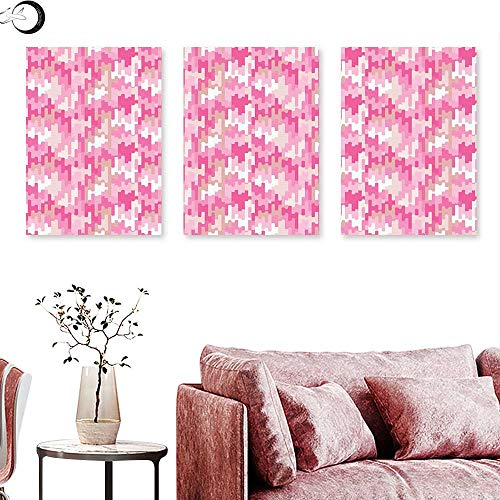 - J Chief Sky Geometric Landscape Canvas Surreal Expressionist Art Vibrant Colors Vintage Ornamental Design Abstract Triptych Wall Art Pink Tan White Triptych Art Canvas W 20