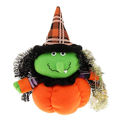SM SunniMix Halloween Dolls, Pumpkin Plush Doll Decor Party Supplies Favors for Kids Gift Home Bedroom Ornaments - Witch
