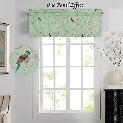 H.VERSAILTEX Energy Saving Curtain Valances for Kitchen/Living/Dining/Bedroom (Rod Pocket, 52 by 18 Inch, Birds on (Bedroom Valance)