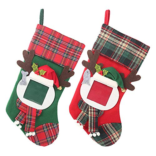 MY-PETS Christmas Stockings Hanging Ornaments with Family Photo Frame, 2 Pack 17 Inches Plaid Xmas Socks Tree Home Decoration (Holder Stocking Frame)