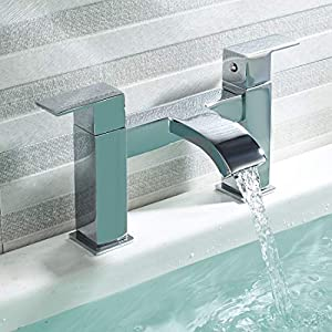 Luckyhome Bath Waterfall Tub Tap Double Lever Filler Mixer Tap Brass Chrome Fitting for Bathroom