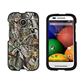 Premium Protection Slim Light Weight 2 piece Snap On Non-Slip Matte Hard Shell Rubber Coated Rubberized Phone Case Cover With Design For Motorola Moto E XT1021/ XT1022/ XT1025 - Autumn Camouflage - Black - Retail Packaging