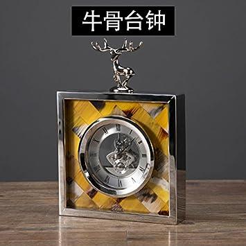 Y-Hui Concha Hueso de Vaca Columpio en la Sala de Relojes Reloj Reloj de sobremesa de Metal El Péndulo Desk, como Huesos de Vaca Reloj de sobremesa: ...