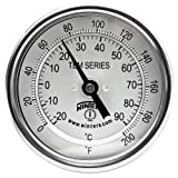 "Winters TBM Series Stainless Steel 304 Dual Scale Bi-Metal Thermometer, 4"" Stem, 1/2"" NPT Fixed Center Back Mount Connection, 3"" Dial, 0-200 F/C Range"