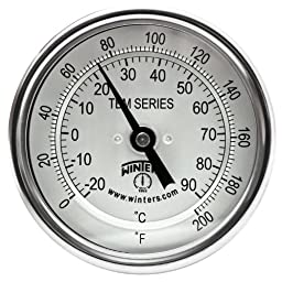 Winters TBM Series Stainless Steel 304 Dual Scale Bi-Metal Thermometer, 4\