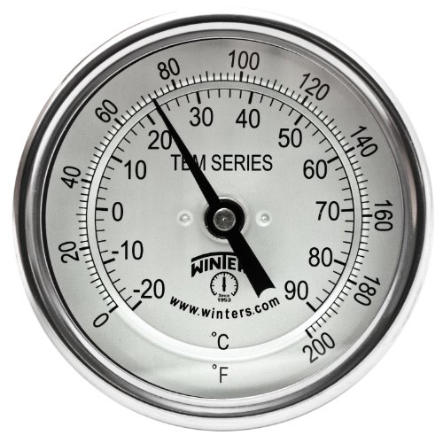 Winters TBM Series Stainless Steel 304 Dual Scale Bi-Metal Thermometer, 6