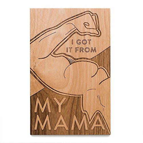 Muscle Mama Shape Laser Cut Wood Mothers Day Card (Handlettered / Greeting Card)