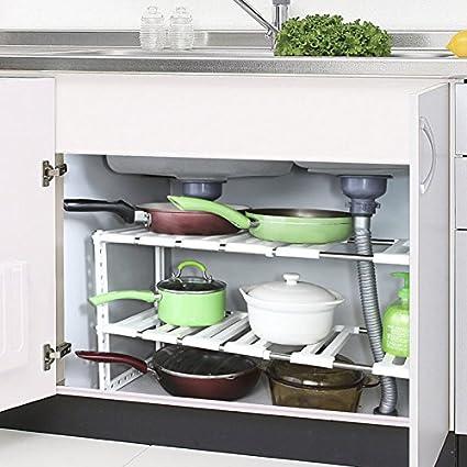 Estante bajo fregadero,Tribesigns 2 Estanterías Acero Inoxidable y Plástico, fácil de instalar y estantes multiusos de almacenaje regulable para baño ...