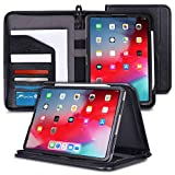 rooCASE iPad Pro 11 Case 2018 - Premium Executive Portfolio Leather Case - Detachable Sleeve - Document Organizer for Apple iPad Pro 11-inch 2018 3rd Generation - Black [Support Apple Pencil Charging]
