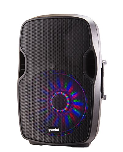 "Gemini AS Series AS-15BLU-LT Professional Audio Bluetooth 15-inch Portable Active PA Loudspeaker with Bluetooth Compatibility, Mic and Line XLR, 1/4"", 1/8'' & RCA inputs by Gemini"