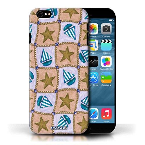 Etui / Coque pour Apple iPhone 6/6S / Brun/Bleu conception / Collection de Bateaux étoiles
