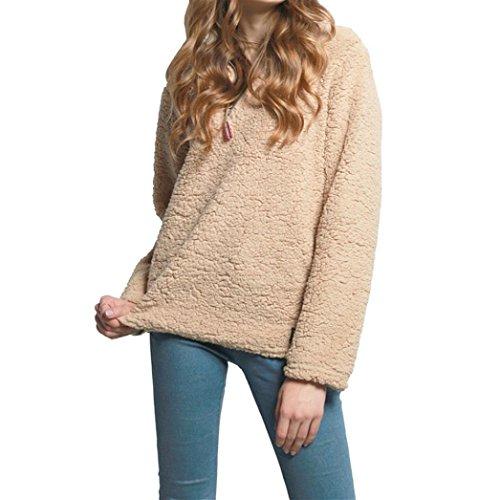 New!! Women Plus Size Fleece Pullover,Lelili Winter Warm 1/4 Zip Fleece Sweatshirt Jacket Outwear Tops (Khaki, XL)