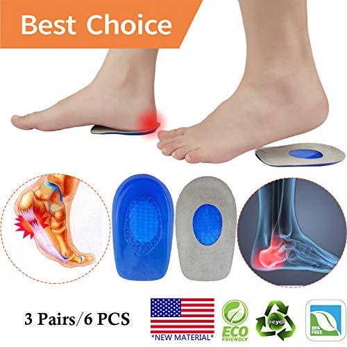 Plantar Fasciitis Inserts, Heel Cups, Gel Heel Pads Cushion *New Material* (3 Pairs) Heel Support Seats, Heel Insert, Great for Heel Pain, Achilles Tendinitis, severs Disease, for Men & Women.
