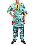 Zago Men's Fine Cotton Dashiki African Wax Fabric Pants + Tops Sets 16 5XL