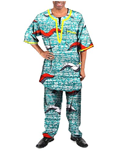 Zago Men's Fine Cotton Dashiki African Wax Fabric Pants + Tops Sets 16 S by Zago (Image #1)