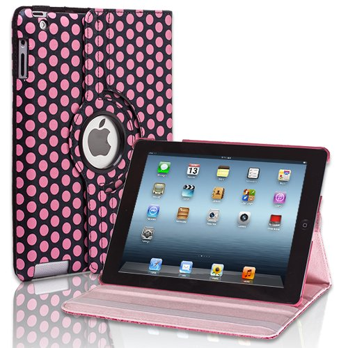 CE Compass Swivel-N-Go 360 Rotating Leather Case Cover Stand For iPad 4 3 2 WiFi 3G 4G LTE (Polka Dot/Pink)