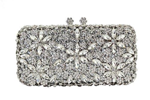Yilongsheng Dazzling langen quadratischen Damen Prom Taschen mit Blumenkristall wulstige Strass (Silber)