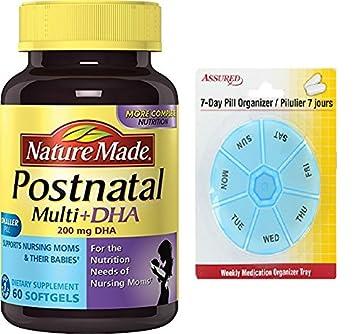 Naturaleza Postnatal vitamina multi Plus cápsulas blandas DHA, cuenta 60 con gratis 7 días plástico