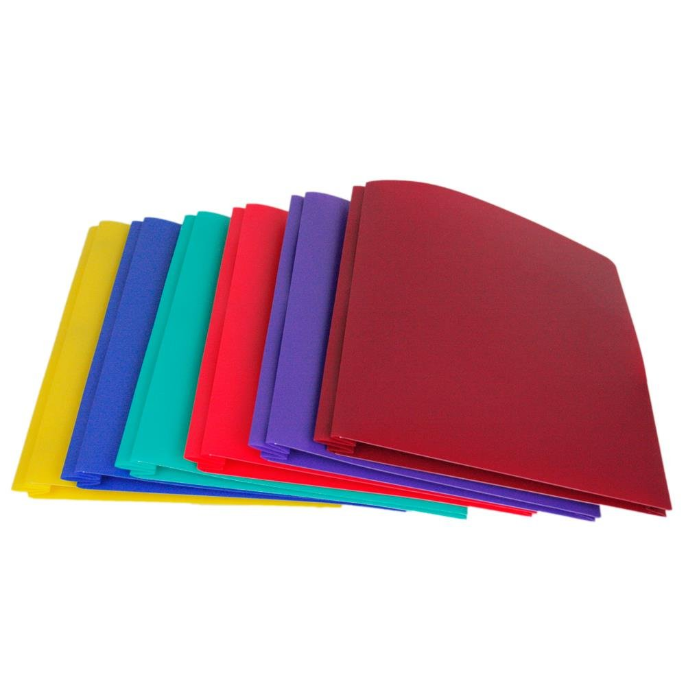 Lightahead Two Pocket Poly File Portfolio Folder with 3 Prongs Fasteners La-E293B, in Assorted Colors, Set of 6 Folders by Lightahead