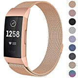 CAVN Compatible Fitbit Charge 3 / Charge 3 SE Bands Strap Small Large, Metal Milanese Loop Stainless Steel Replacement Accessories Bracelet Compatible Fitbit Charge 3, Rose Gold, Silver, Black