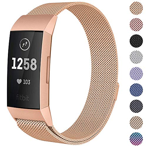 CAVN Compatible Fitbit Charge 3 / Charge 3 SE Bands Women Men Small Large, Metal Milanese Loop Stainless Steel Replacement Magnetic Accessory Straps Bracelet (Large (6.1-9.9), Rose Gold)
