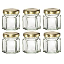 Nakpunar 60 pcs , 1.5 oz Mini Hexagon Glass Jars for Jam, Honey, Wedding Favors, Shower Favors, Baby Foods, DIY Magnetic Spice Jars