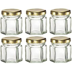 Nakpunar 60 pcs , 1.5 oz Mini Hexagon Glass Jars for Jam, Honey, Wedding Favors, Shower Favors, Baby Foods