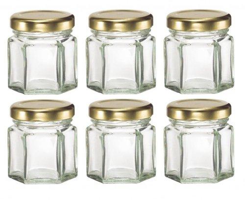 Nakpunar 30 pcs , 1.5 oz Mini Hexagon Glass Jars for Jam, Honey, Wedding Favors, Shower Favors, Baby Foods, DIY Magnetic Spice Jars