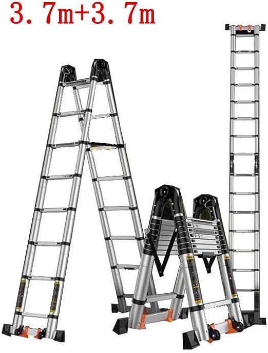 GLJJQMY Escalera telescópica ingeniería doméstica Plegable de múltiples Funciones Nudo de bambú Espina Recta Doble Escalera de aleación de Aluminio (Size : 3.7m+3.7m): Amazon.es: Hogar