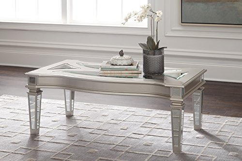 Signature Design by Ashley - Tessani Contemporary Rectangular Cocktail Table, Silver