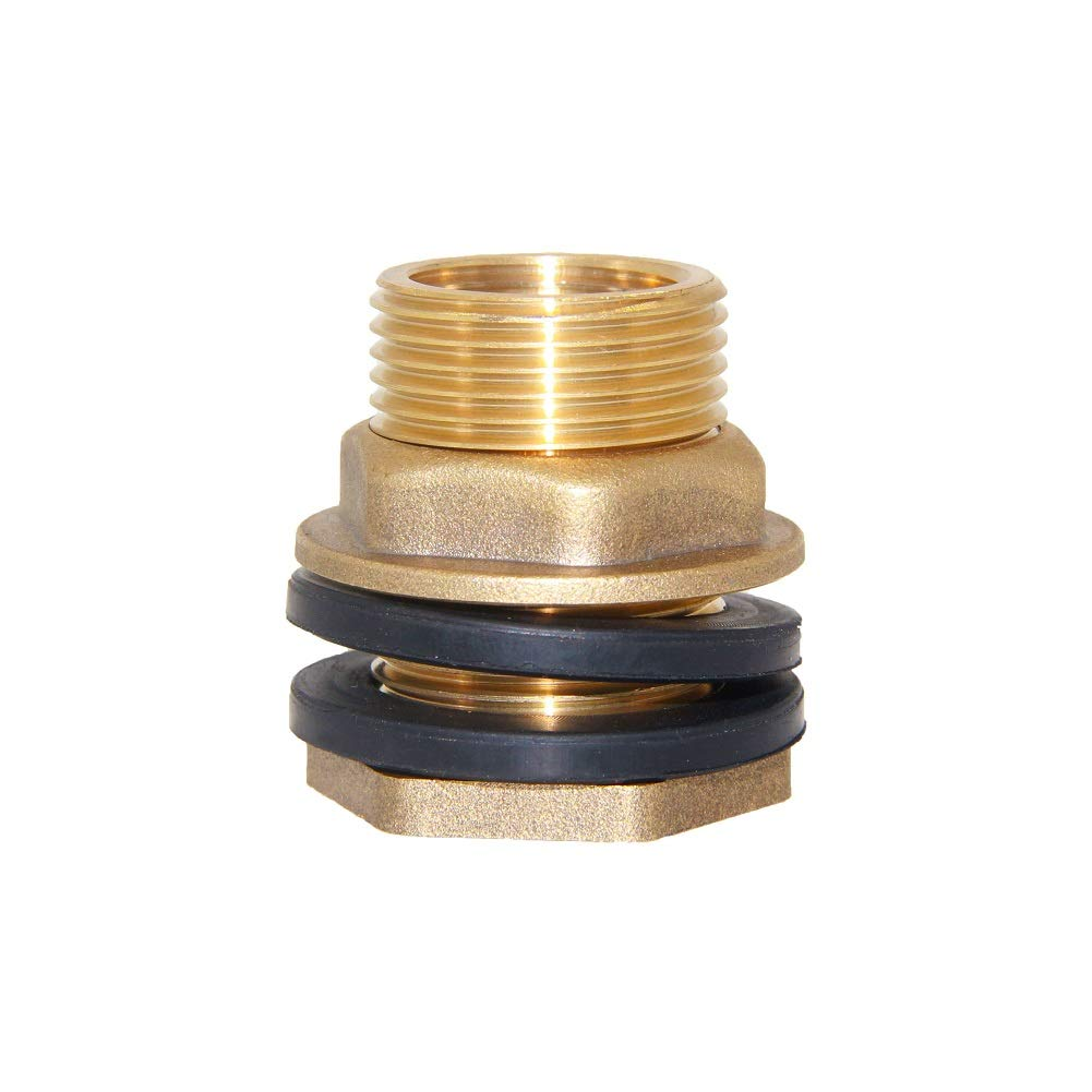 "Joywayus 1/2"" Female 3/4"" Male Soild Brass Water Tank Connector Theaded Bulkhead Fitting with 2 Rubber Ring Stablizing"