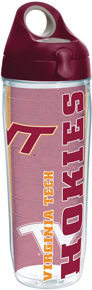 Tervis 1216518 Virginia Tech Hokies College Pride Tumbler with Wrap and Maroon Lid 24oz Water Bottle, Clear