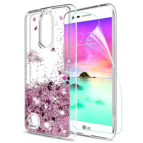 LG K20 V Case,LG Harmony Case,LG K20 Plus Case,LG Grace LTE Case,LG LV5 Case with HD Screen Protector,LeYi Liquid Glitter Sparkle Girl Women Cute Clear TPU Protective Case for LG K10 2017 ZX Rose Gold