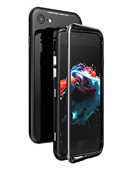 low priced 1656d 5cf26 iPhone 8 Case KumWum Slim Aluminum Metal Bumper Case Magnetic Adsorption  Tempered Glass Back Cover Phone Case for iPhone 7 (iPhone 8/7, Full Black)