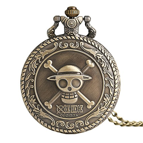 Men's Japan Cartoon Anime One Piece Bronze Pocket Watch Skull Bronze Quartz with Necklace Chain Gift for Christmas, Gift for Men - Ahmedy Pocket Watch (One Piece Watch Pocket)